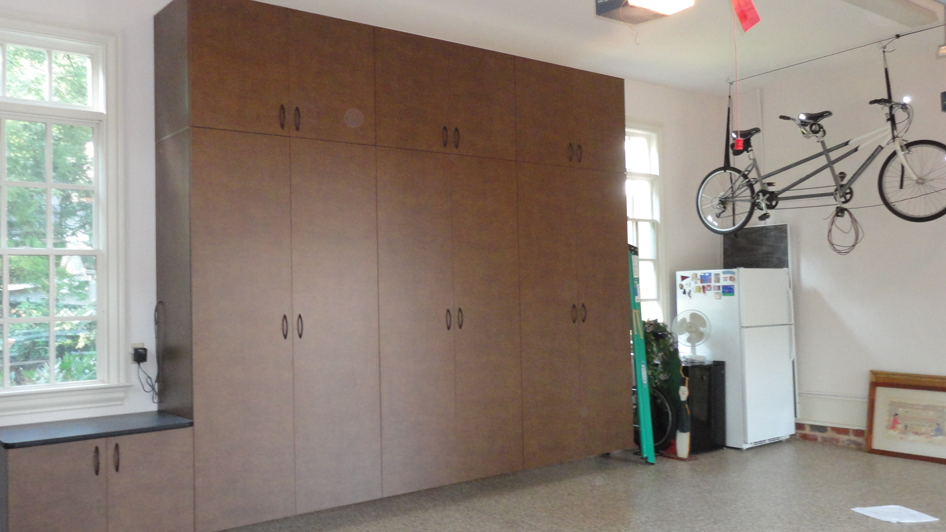 garage double stacked tall cabinets