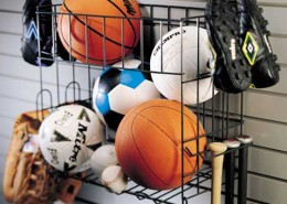 sports rack with basket