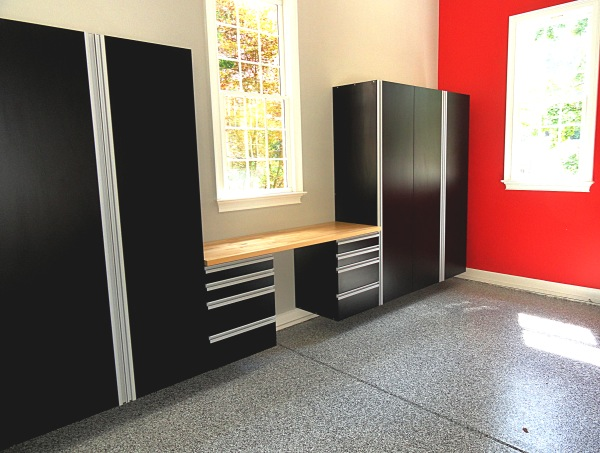 Black Cabinets With Extruded Aluminum Handles, Hard Rock Maple Butcher  Block Top U0026 Epoxy Flooring