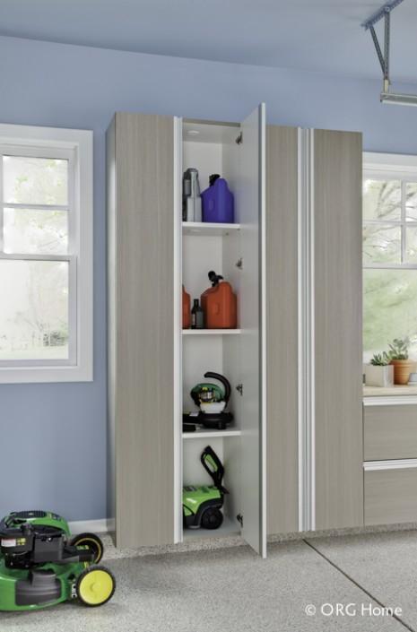 Driftwood cabinets for garden supplies
