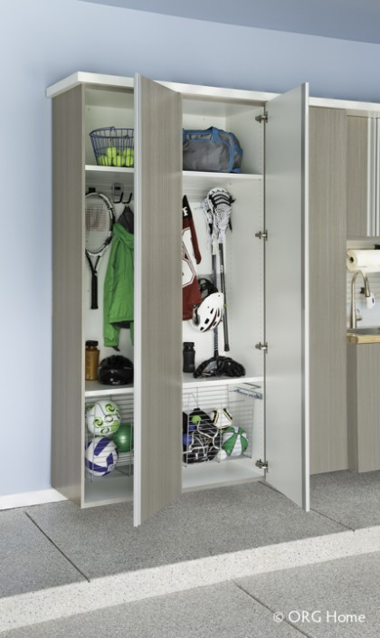 driftwood cabinets garage sports storage