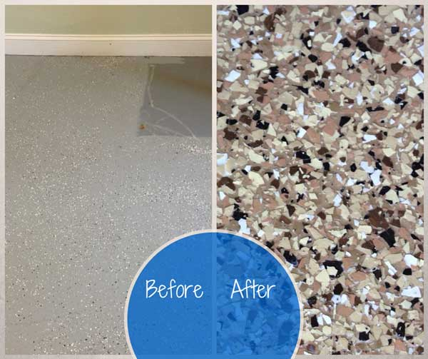 Epoxy flooring before and after