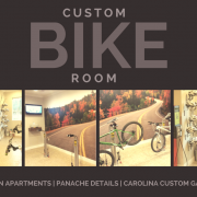 custom bike room with sedona epoxy floors