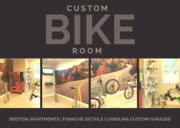 custom bike room with sedona epoxy floors