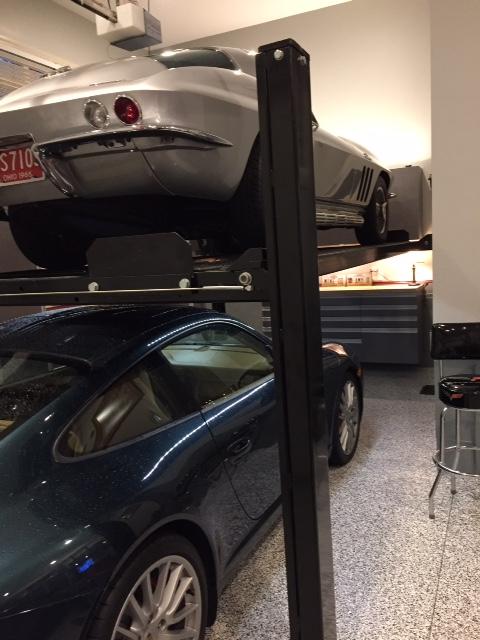Durham garage storage showing car lifts